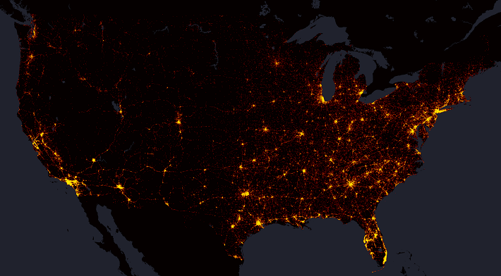 Every Death On Every US Road Metrocosm - Us map night