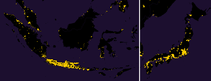 map of japan java (indonesia) population