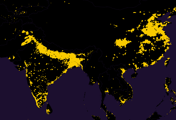 map india china population