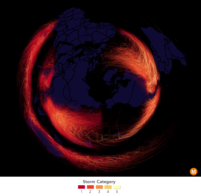 map of hurricanes around the world