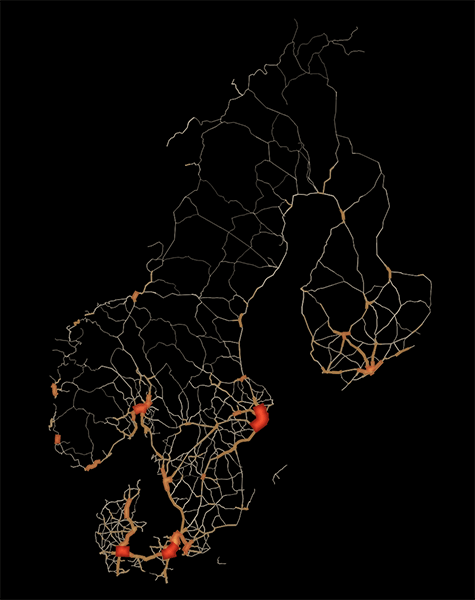 scandinavia road traffic map