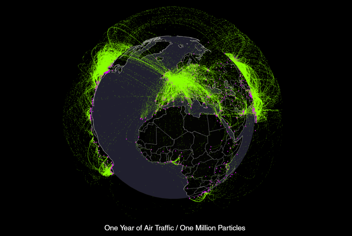 Every Plane Flight in the World Over One Year [Animated Map]