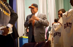 Baseball Great Willie Mays Returns to Polo Grounds, Gives Kid a C-Note
