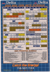 Mets magnetic schedule