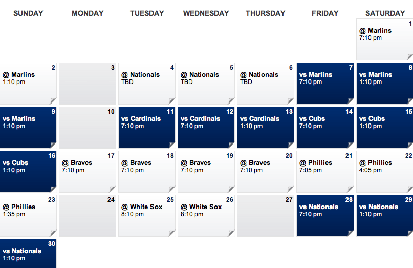 June Mets Schedule