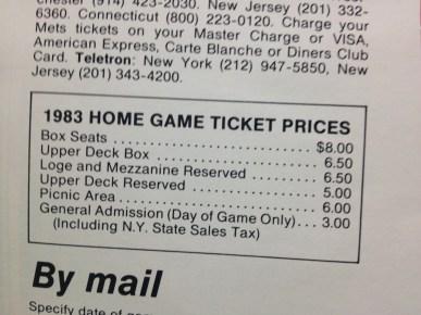 1983 Mets yearbook ticket prices