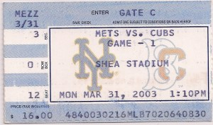 2003 Mets opening day ticket