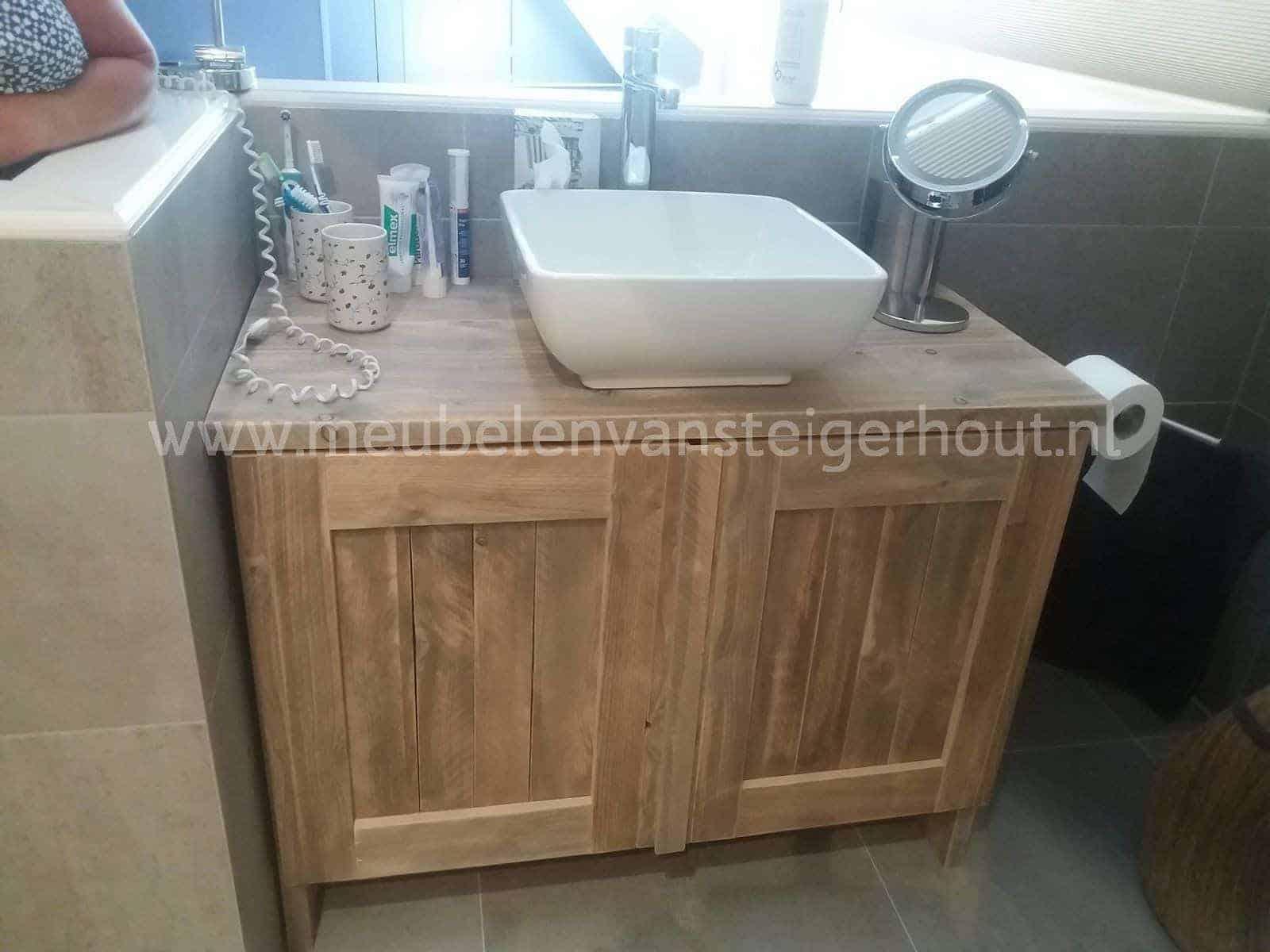Badkamer Onderkast Hout : Onderkast wastafel steigerhout badkamer kast
