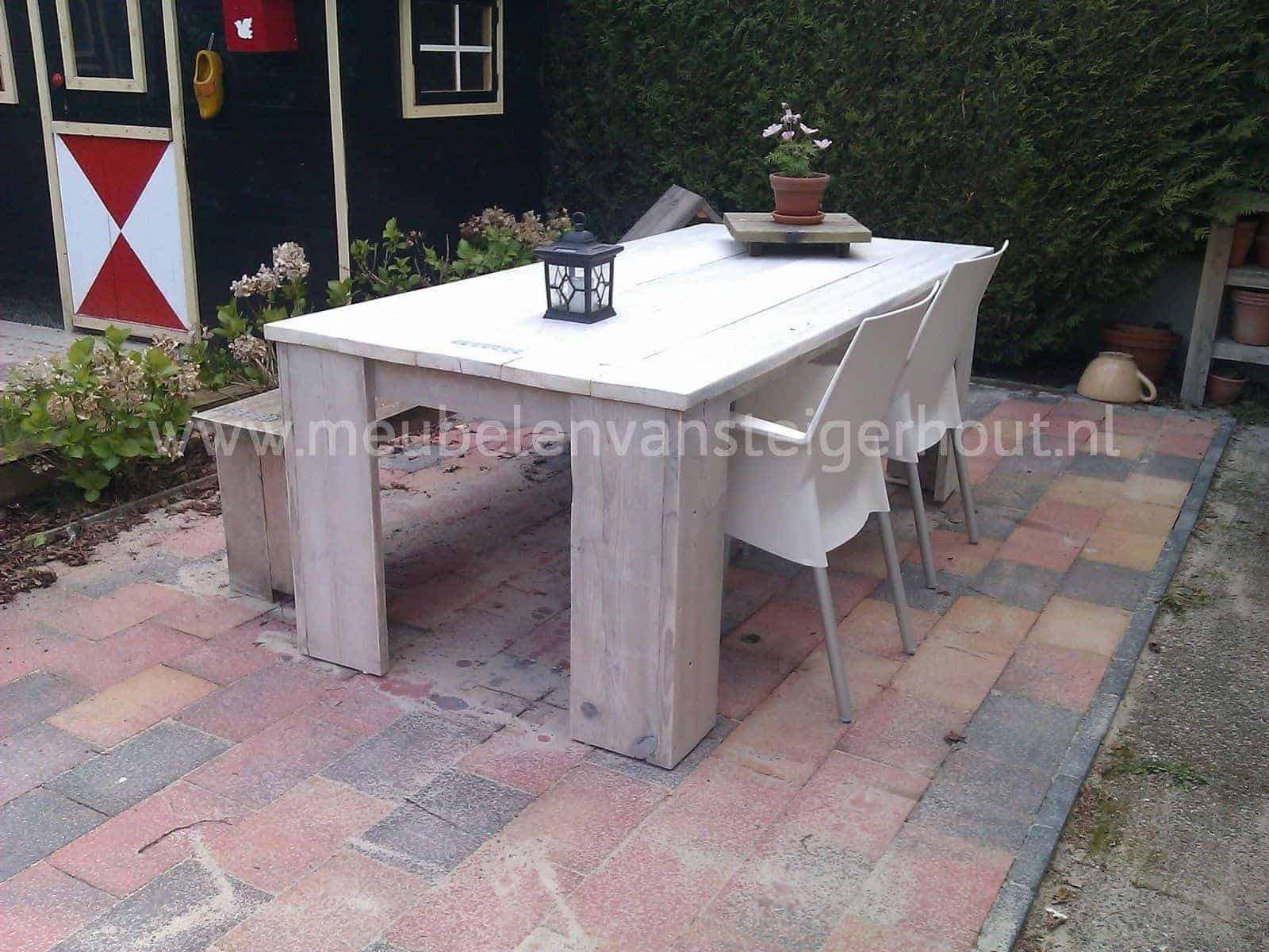 Steigerhout kloostertafel bouwpakket met montagemateriaal en