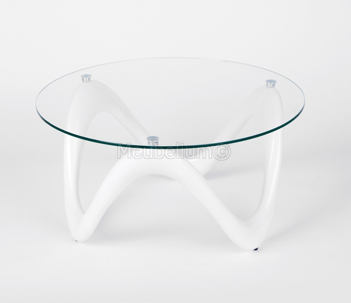 Table Basse Design Blanche Table D Appoint Ronde En Verre Coloris Blanc Heloise