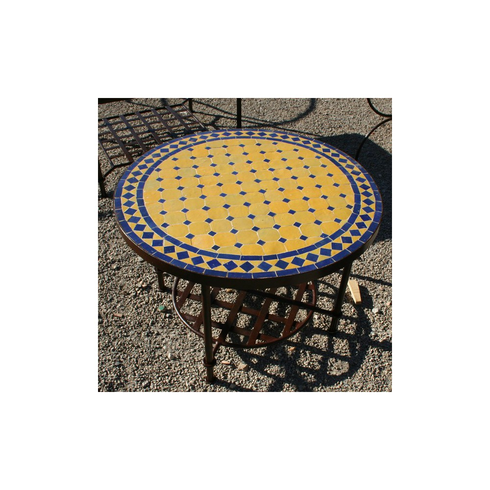 Table Basse Carrée Marbre Table Basse Marocaine Zellige Mosaique Ceramique Fer Forge