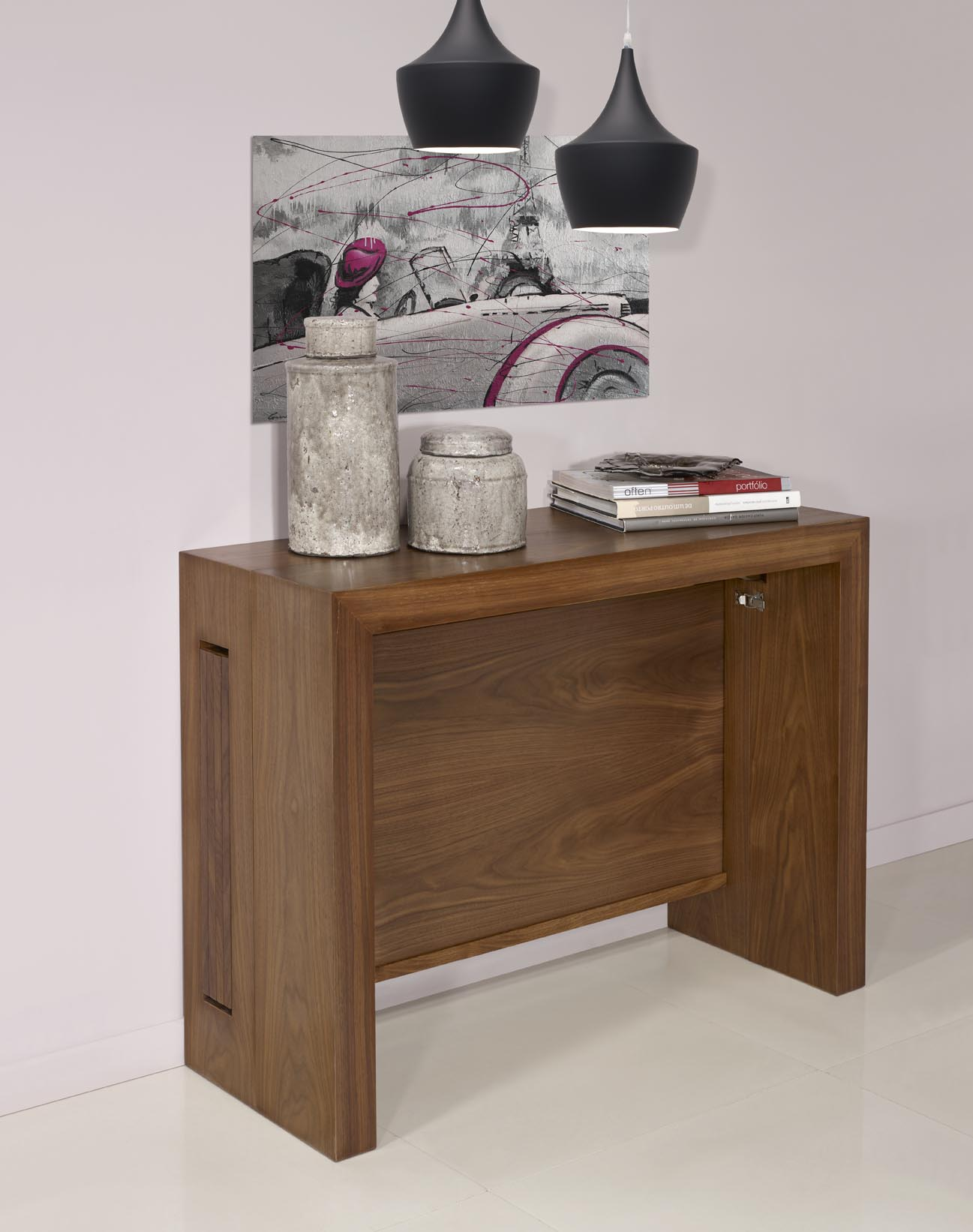 Console Merisier Console Extensible En Noyer Contemporaine 4 Allonges