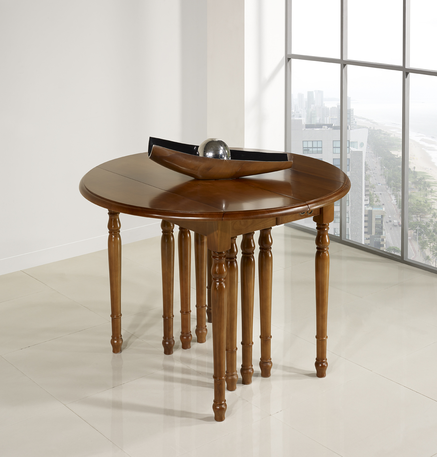 Table Ronde Allonges Table Ronde à Volets Diametre 120 Réalisée En Merisier Massif De Style Louis Philippe 10 Allonges De 40 Cm