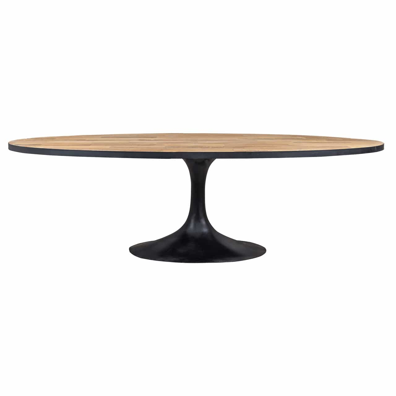 Table Bois Fer Design Table Design Plateau Ovale Pied Central Metal Bois Deco Nord