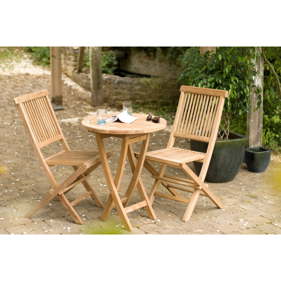 Table Ronde De Salon Salon De Jardin N19 En Teck Comprenant 1 Table Ronde 60 X 60 Cm 2 Chaises Java