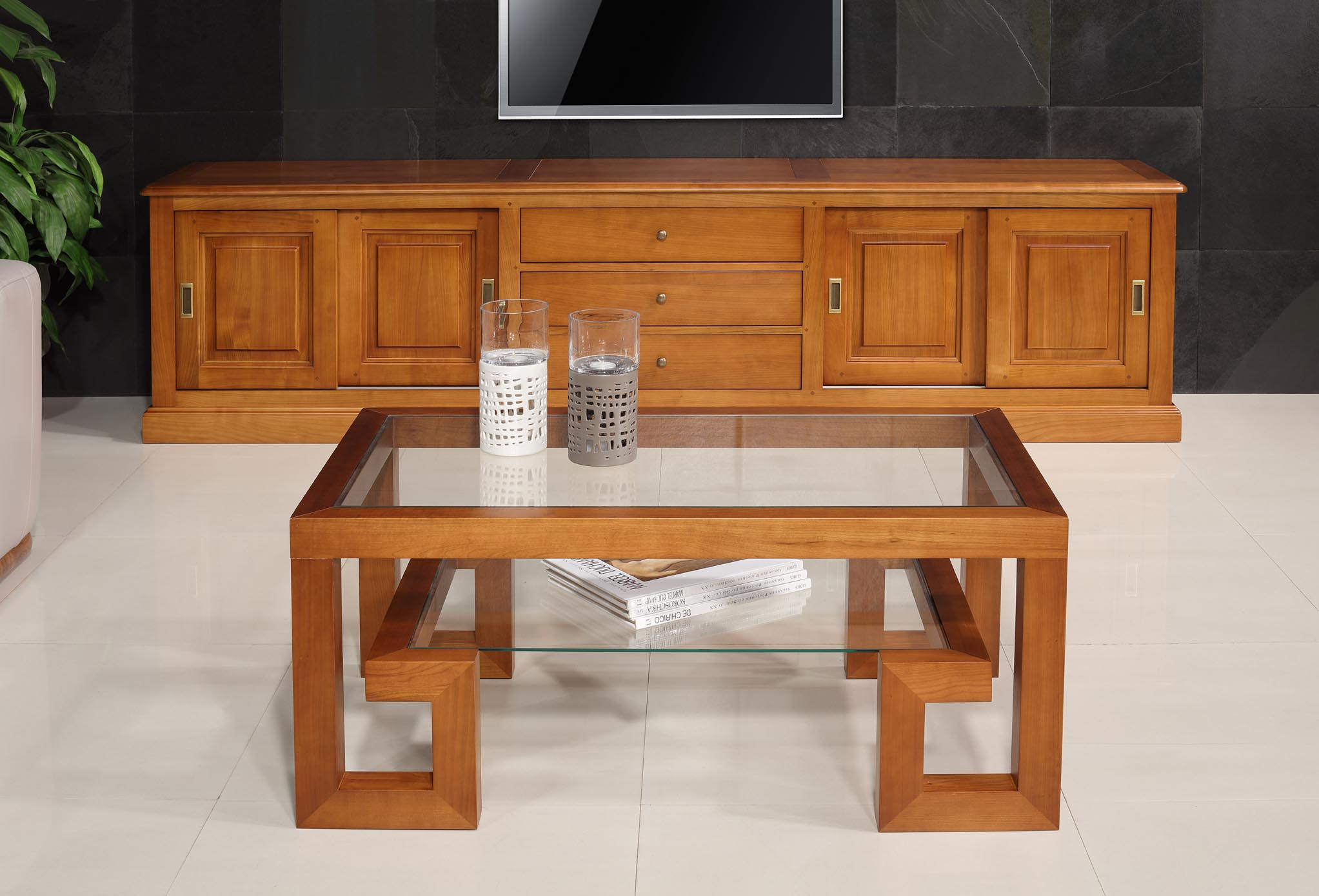 Table Basse Rectangulaire Alice De Ligne Contemporaine En Merisier Massif Et Verre 105x60 - Table Basse Contemporaine