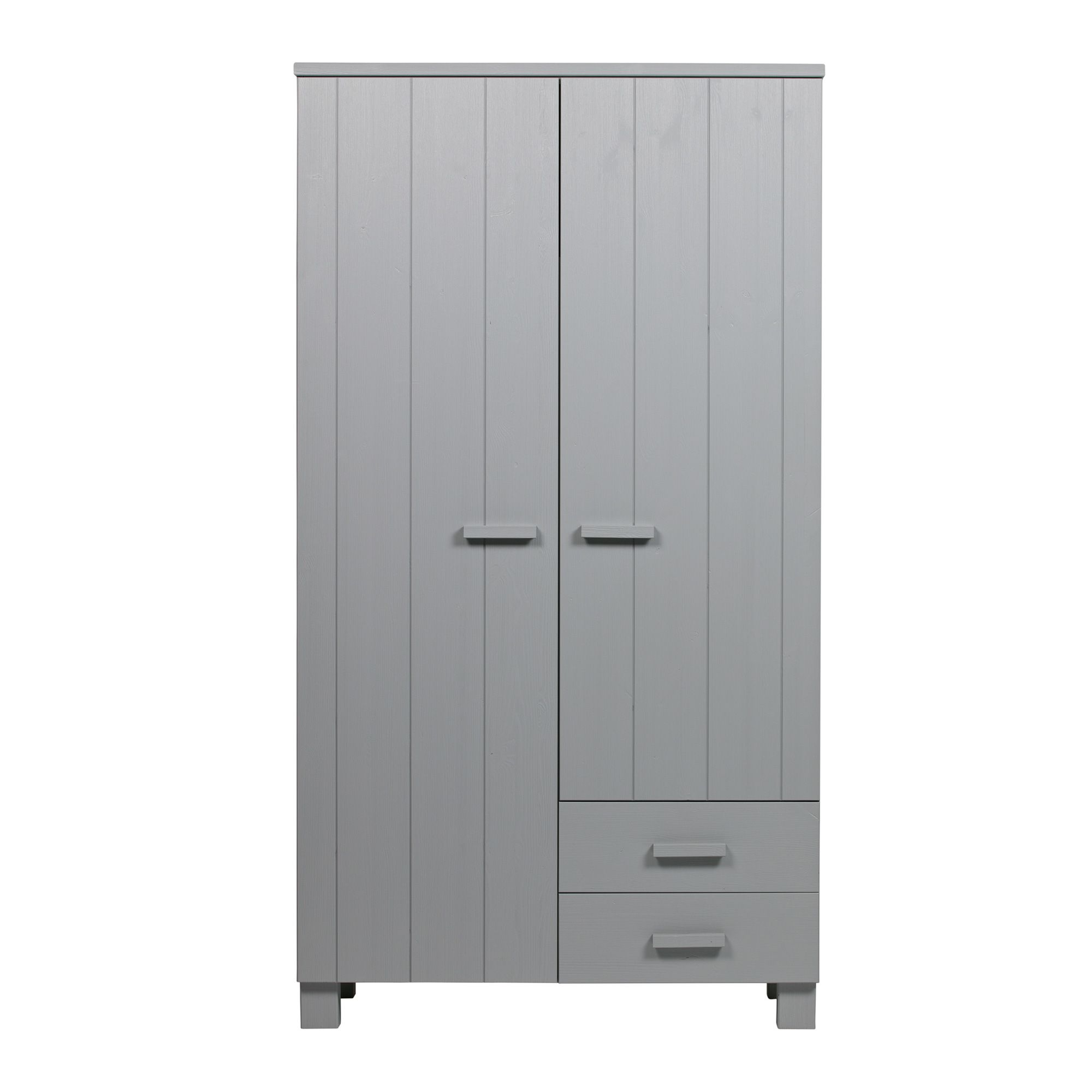 Woood Woood Dennis 2 Door Wardrobe 2 Drawers Concrete Grey Meubles - Woood Bed Dennis