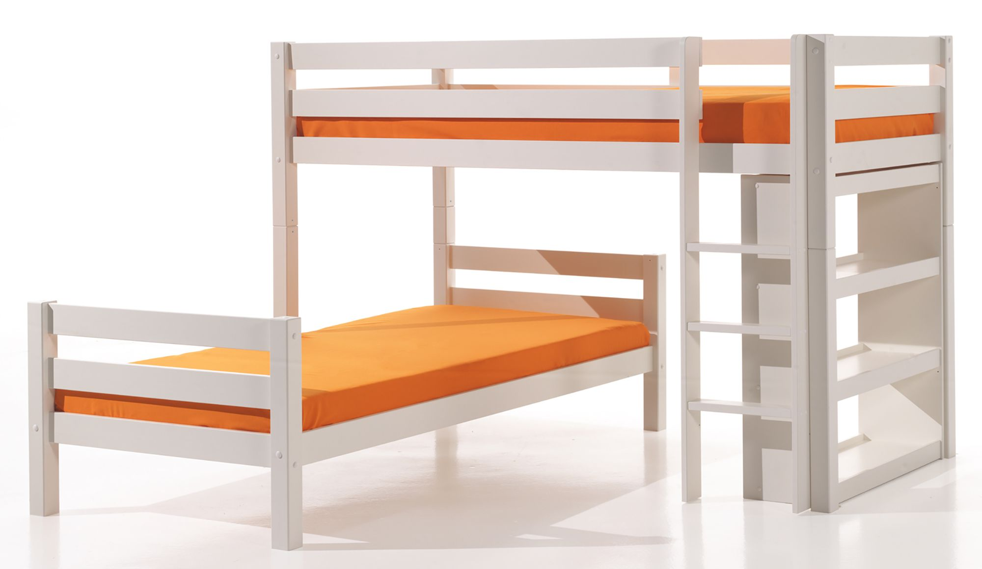 Meuble Cot Vipack Pino Bunk Bed With Bookshelf White Meubles