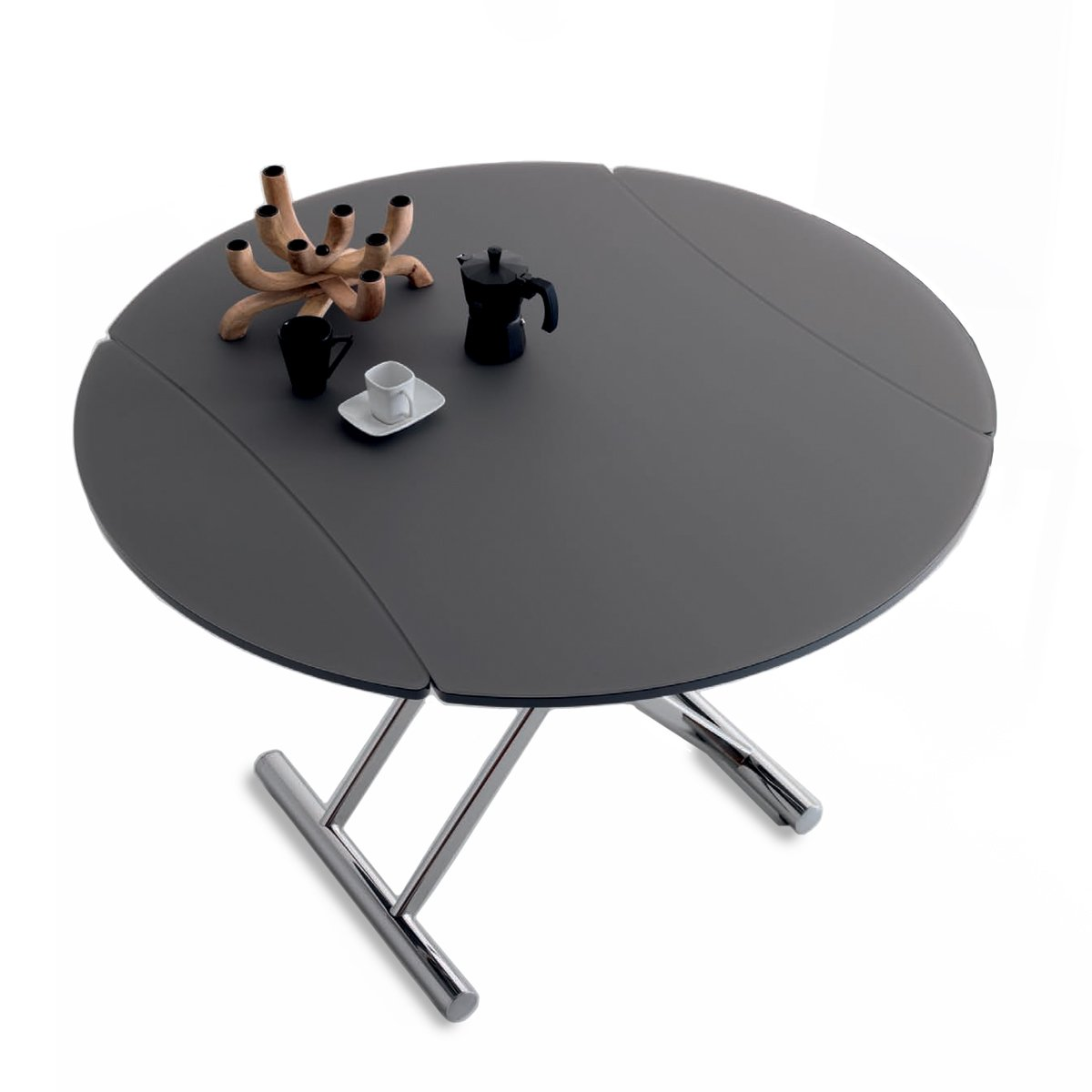Table Basse Evolutive Table Basse Relevable Ronde Nice Verre Opaque