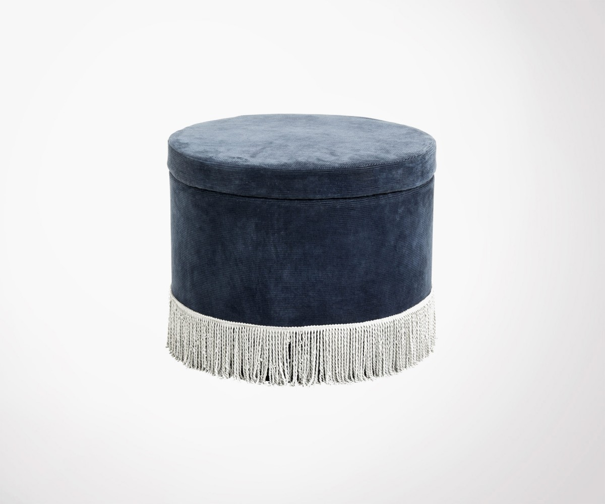 Pouf Vintage Vintage Blue Velvet And Fringes Design Pouf Best Selling