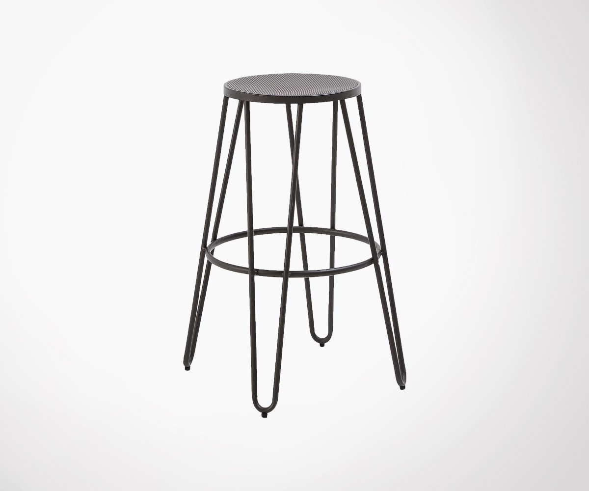 Tabourets Bar Empilables Tabouret Bar Métal Noir 76cm Ohio