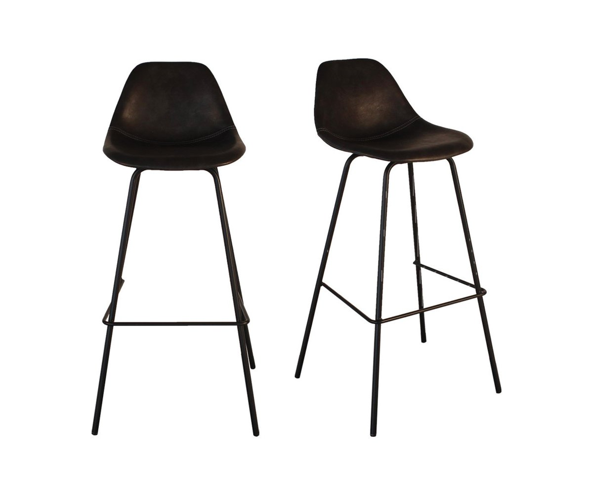 Lot De 2 Tabourets De Bar Design Moderne Simili Cuir 2 Couleurs