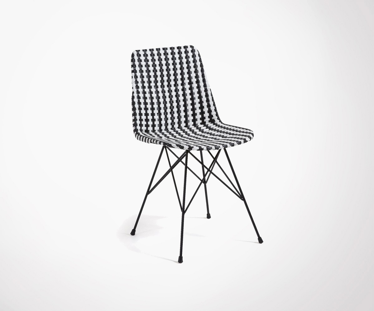 Chaise Spoon Polyrattan Dining Chair Black And White Seat Fast Shipping