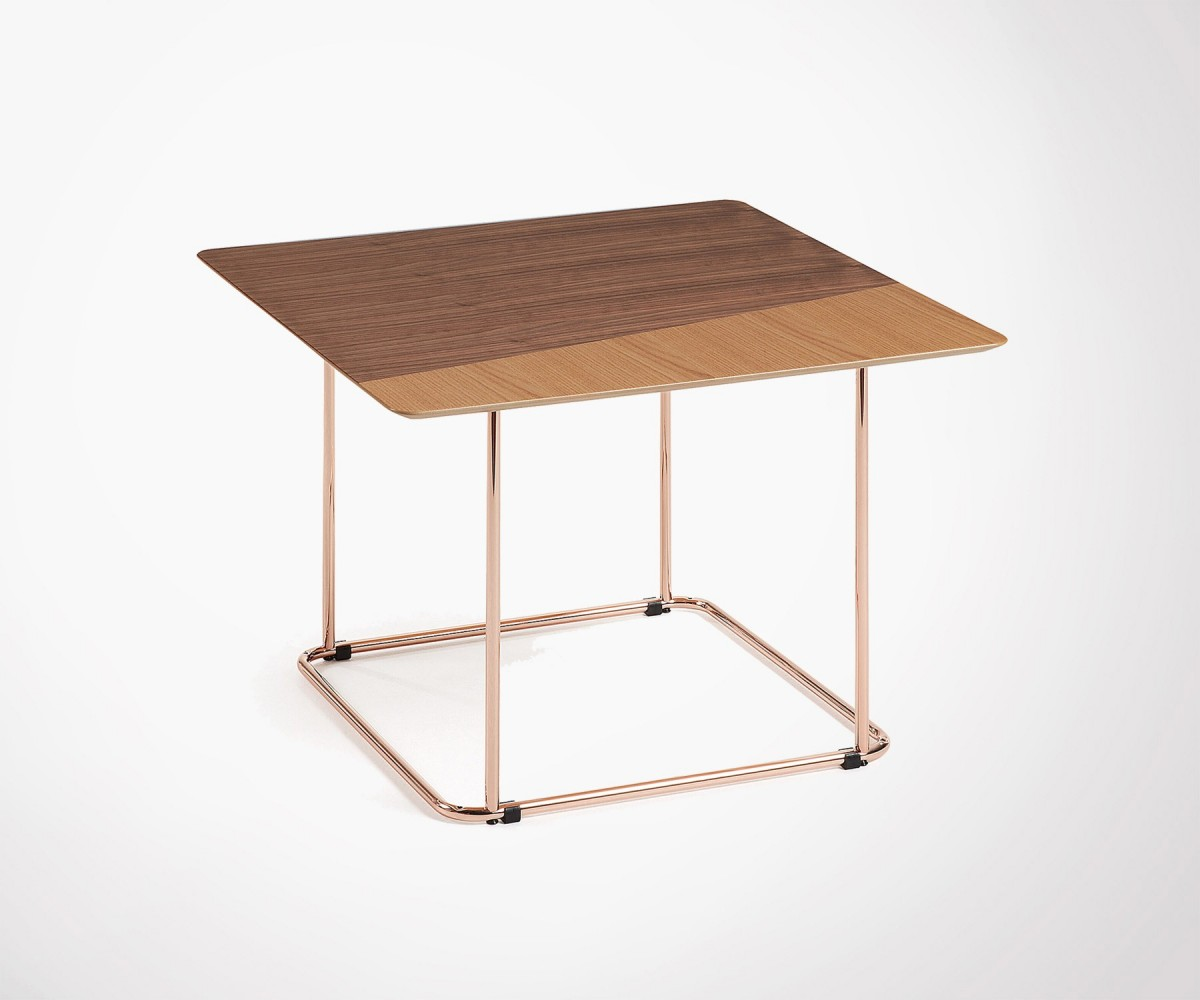 Table Noyer Design Walnut Top Design Coffee Table With Copper Metal Feet Exclusivity