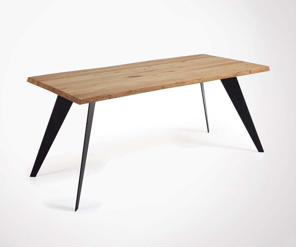 Table Metal Blanc Design 180cm Dining Table Made Of Solid Oak And Iron Feet