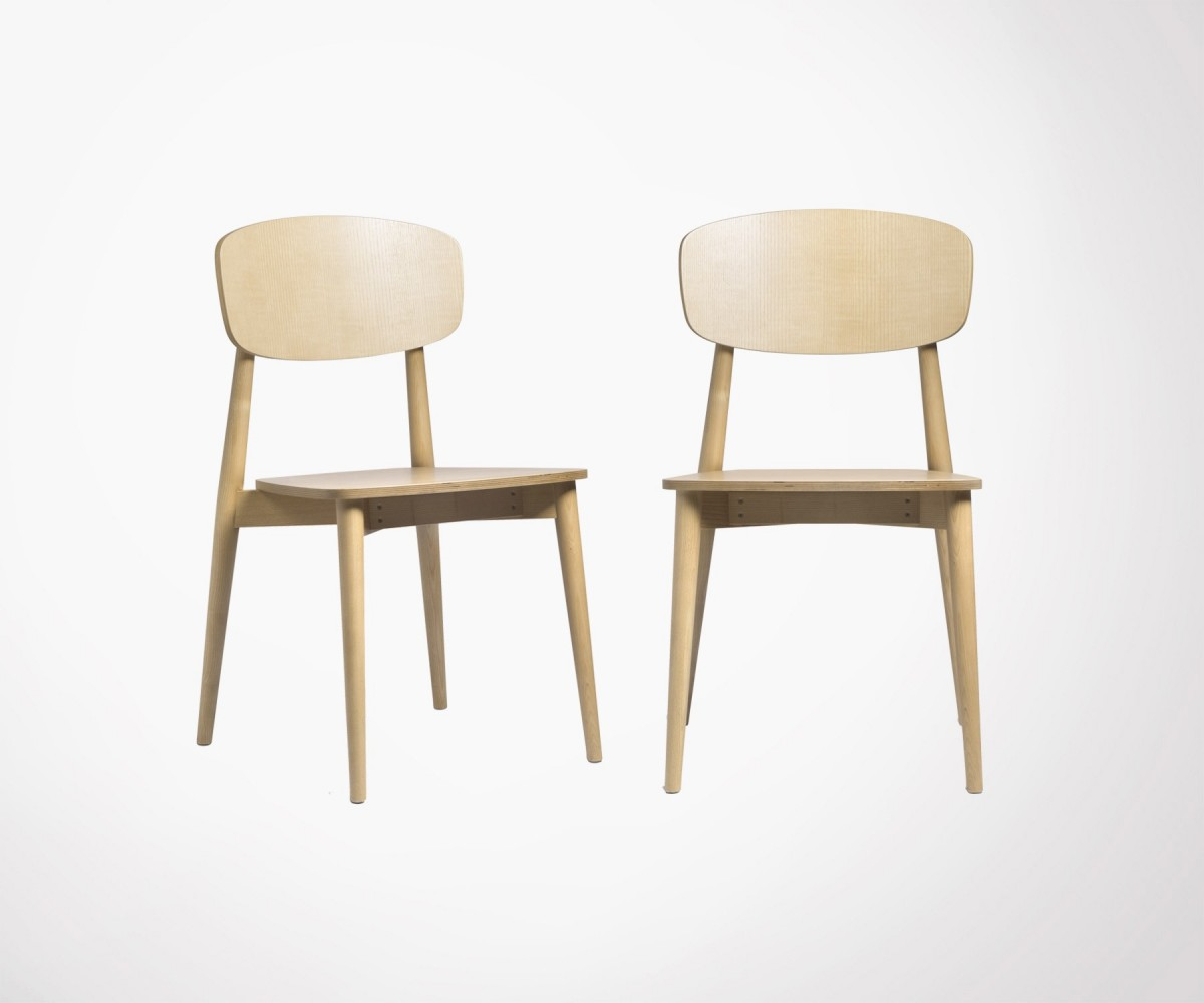 Lot 2 Chaises Scandinave Solid Wood Dining Chair Temahome High Quality