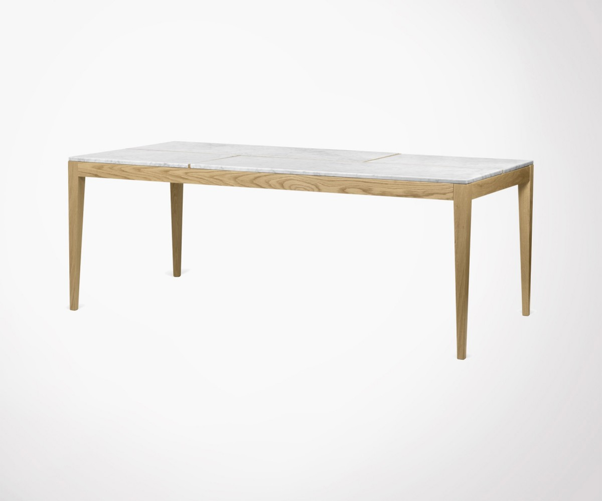 Table Manger Large 201cm Dining Table White Marbre Top And Oak Legs Temahome