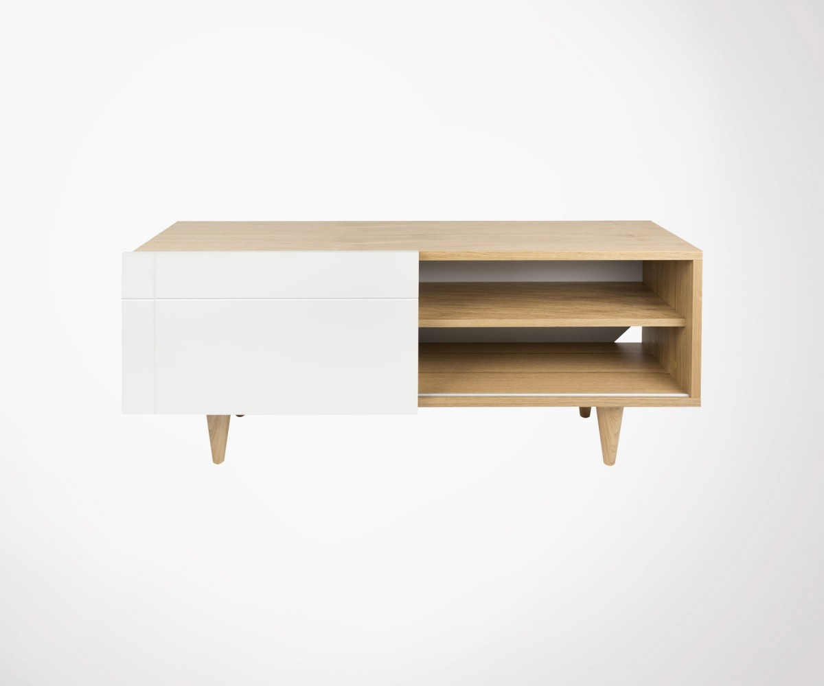 Meuble Angle Scandinave Scandinavian Tv Stand 120cm Oak Wood Natural And White By