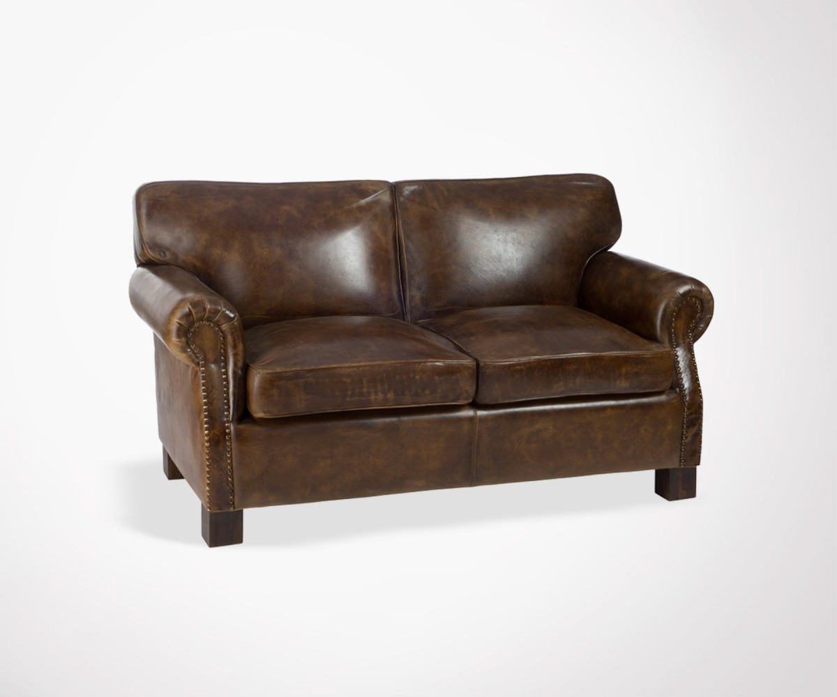 Canape Club Cuir Marron Canapé Club Sofa Vintage Cuir Marron Vieilli 2 Places J Line