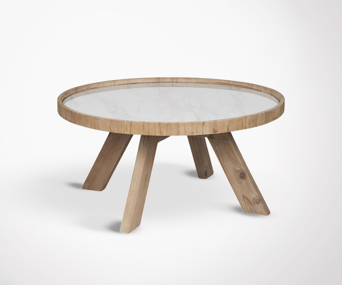 Table Ronde Bois Design Design Round Coffee Table Wooden Legs And White Ceramic Top 79cm