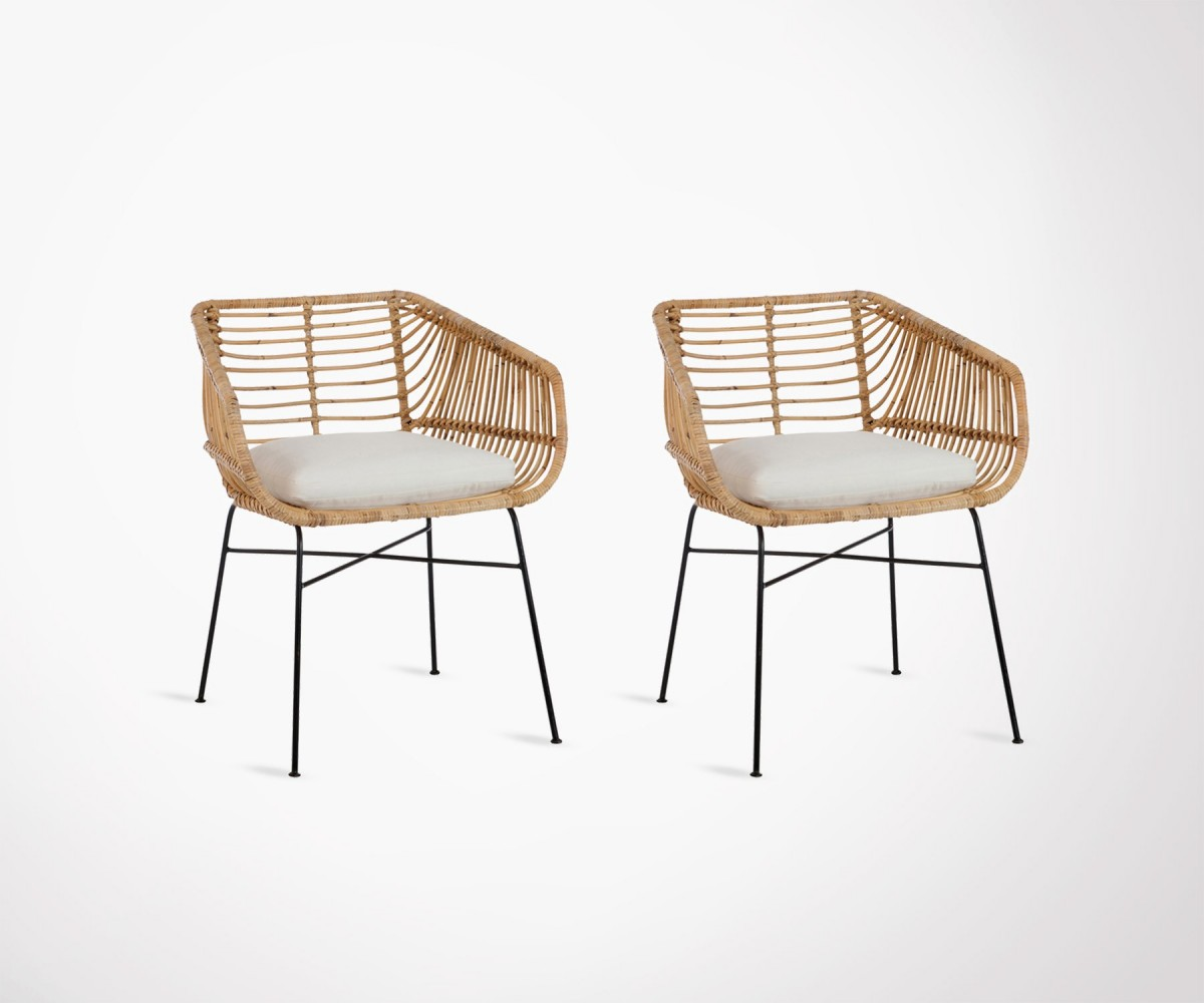 Lot 2 Chaises Set Of 2 Natural Metal Rattan Outdoor Chairs With Cushion By J Line