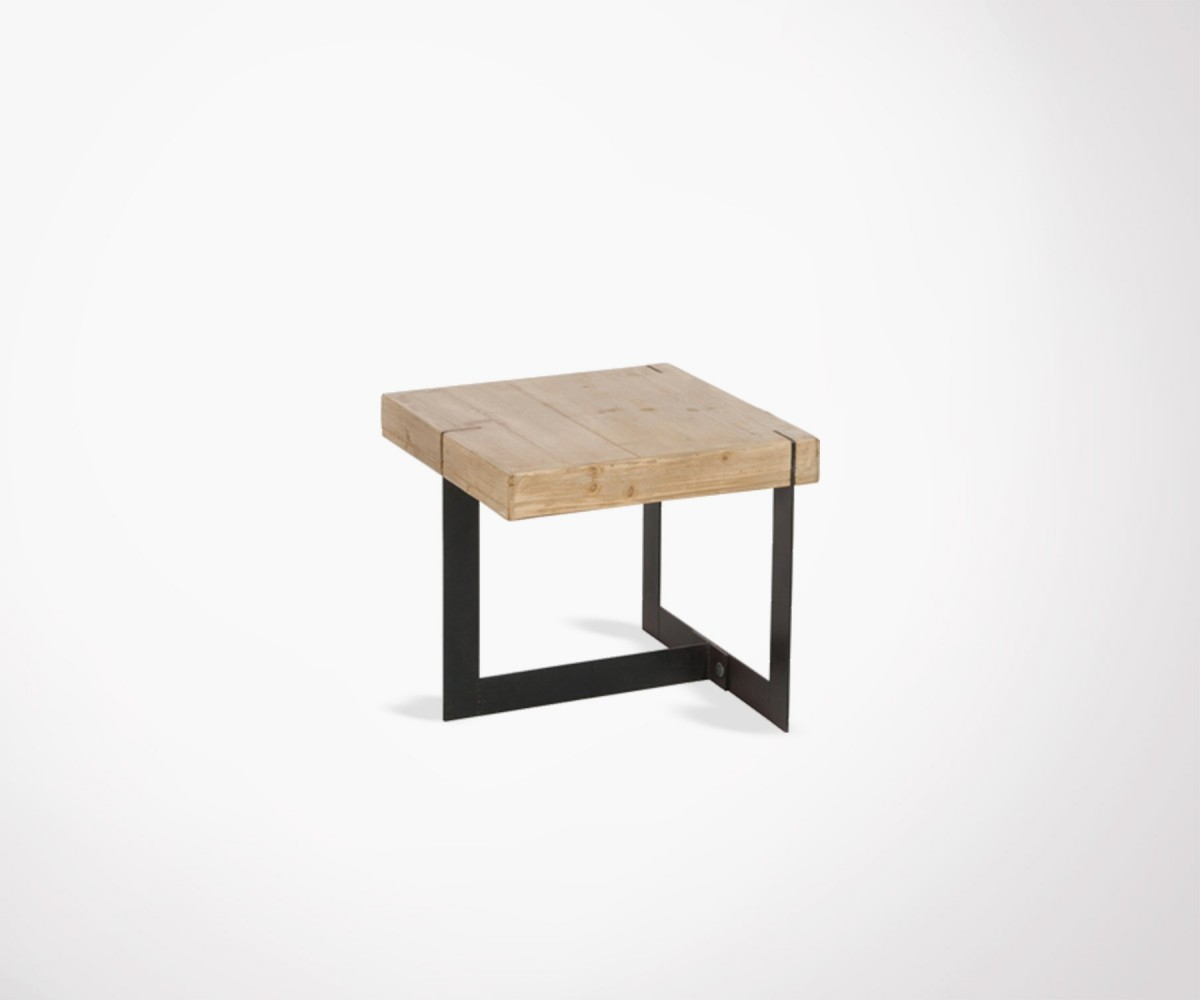 Petite Table Salon Small 50cm Coffee Table With Top Solid Wood And Black Metal Feet