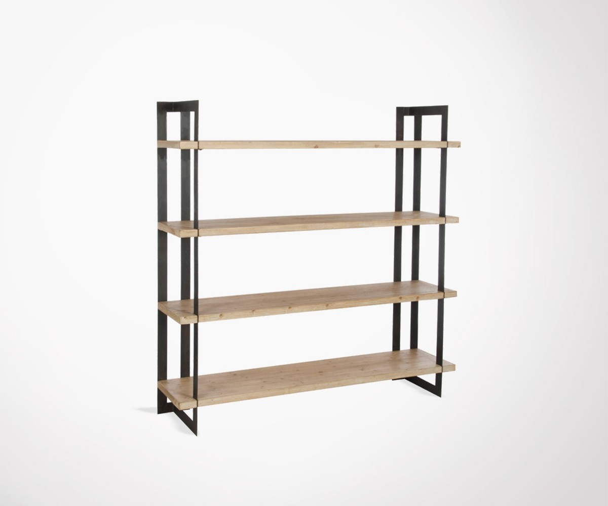 Planche Bois Etagere Large Design Shelf Solid Wood Boards And Black Iron Shade