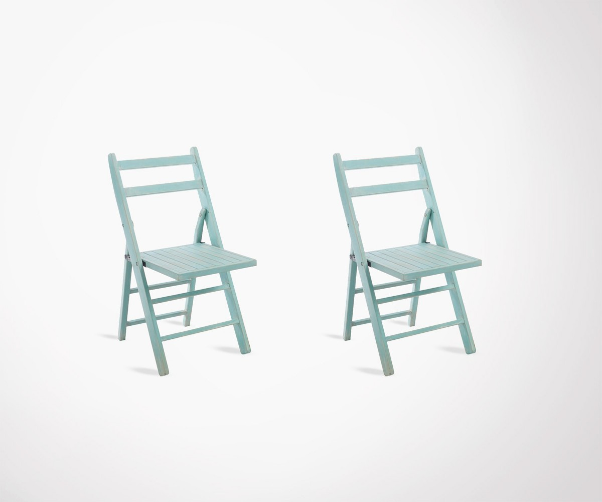 Lot 2 Chaises Set Of 2 Folding Azure Wood Chairs Deauville