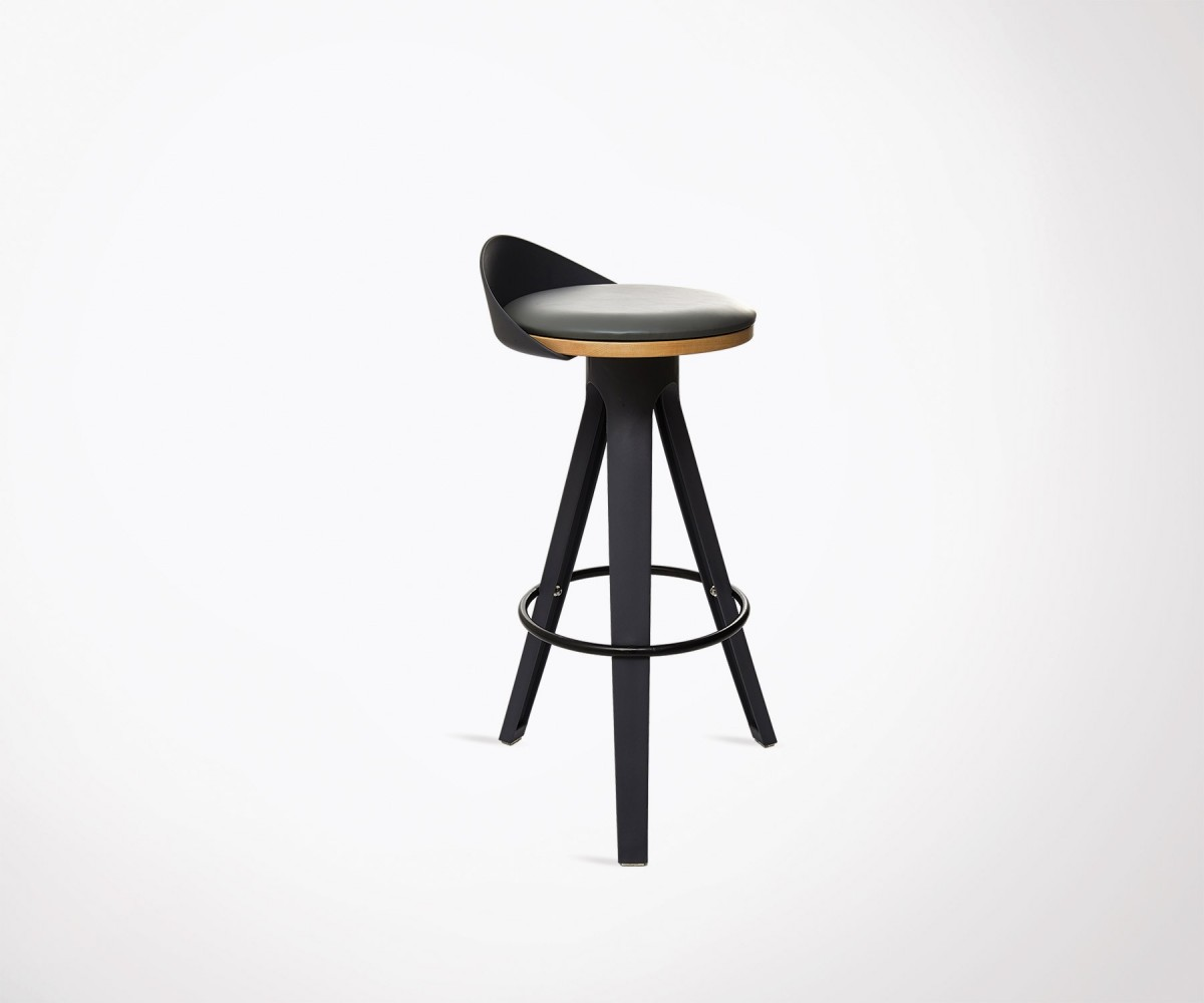 Suspension Scandinave Noir Tabouret De Bar Design Moderne Avec Assise Simili Cuir