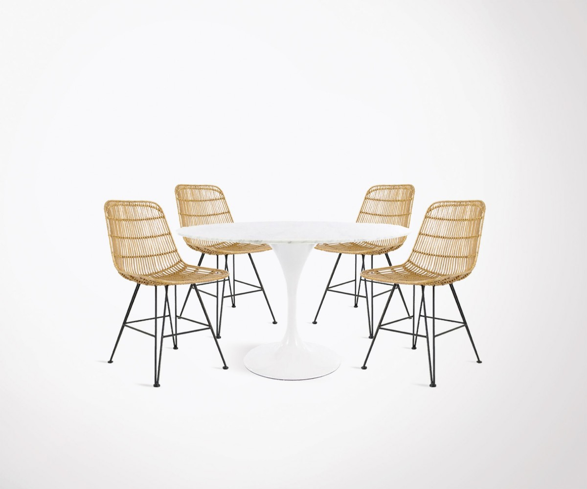 Table Manger Dining Room Set 120cm Round Marble Table 4 Natural Rattan Chairs