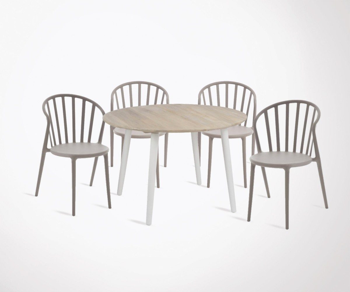 Table à Manger Moderne Modern Dining Table 120cm 4 Plastic Stackable Dining Chairs