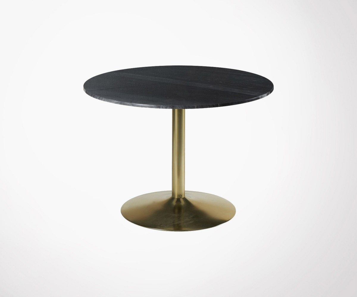 Table Marbre Design Black Marble Dining Table 100cm Retro Style Yorkin