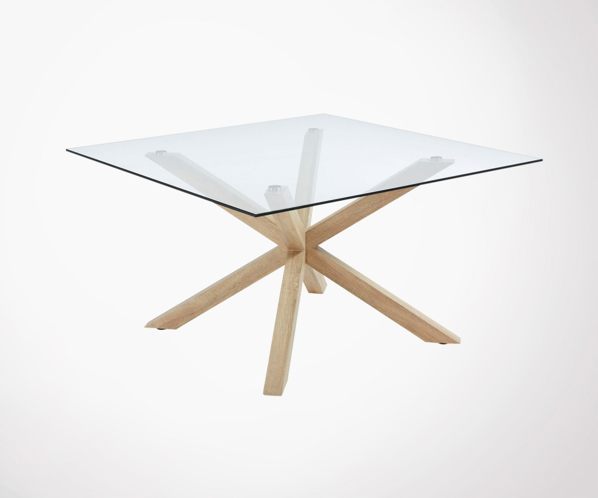 Grande Table En Verre Large 149cm Square Dining Table With Glass Top And Central Steel Base