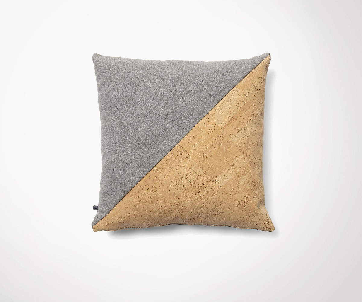 Design Liege Cork And Grey Fabric Design Cushion Cover 45x45cm