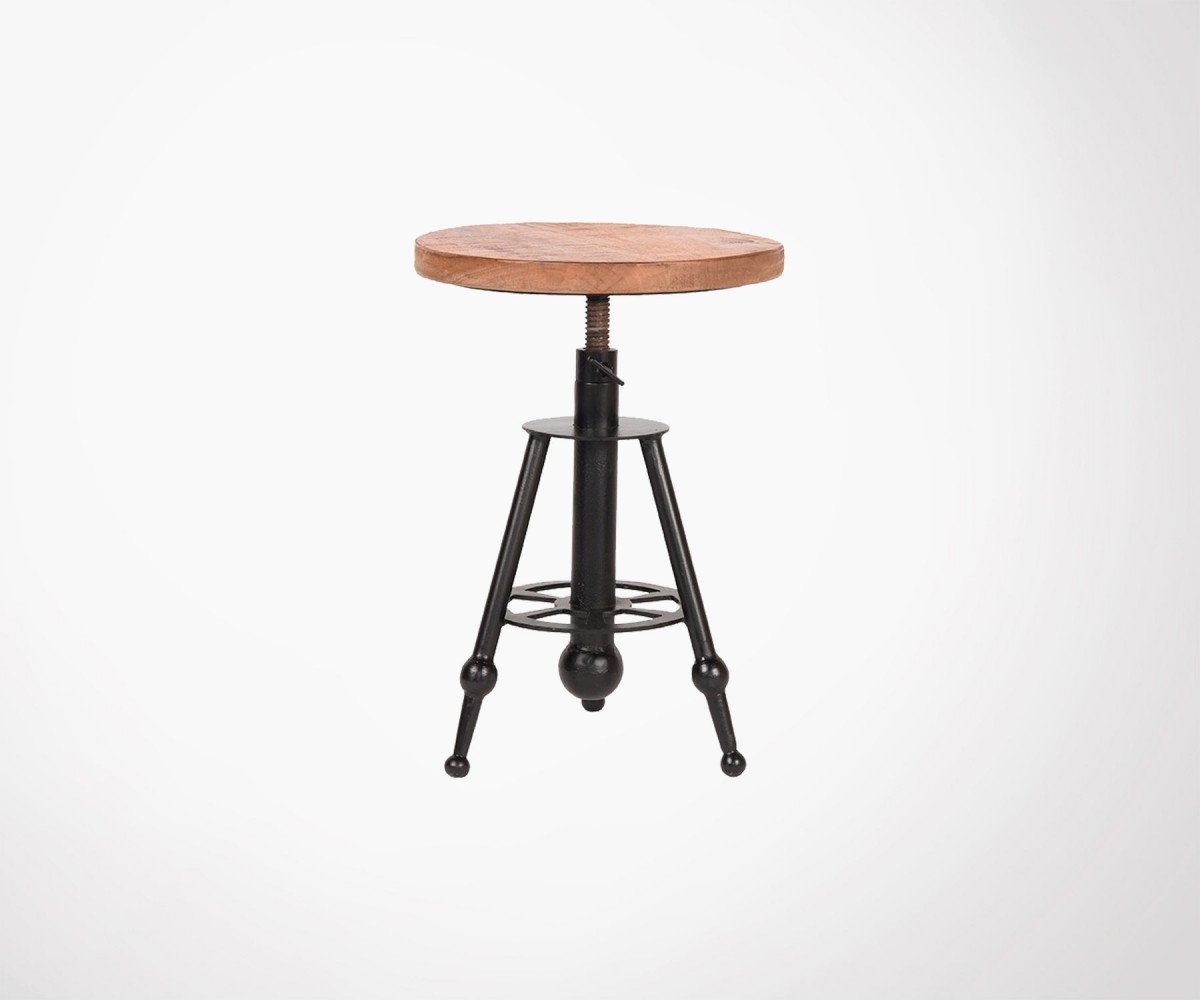 Tabouret Design Bois Metal Design Stool With Ajustable Seat Height Industrial Design