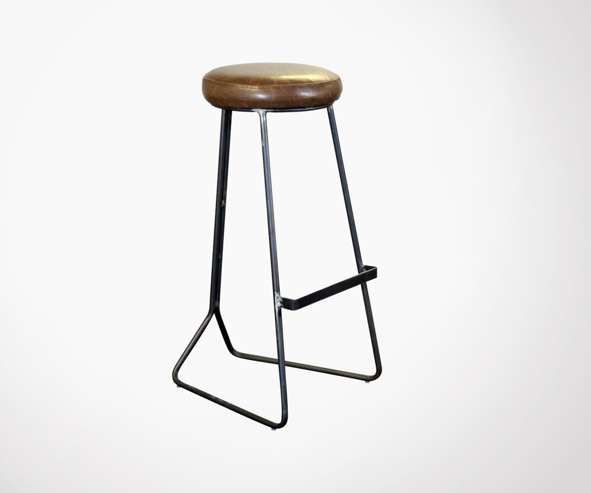 Tabouret Bar 80 Cm Retro Design 80cm Seat Height Barstool Metal And Faux Leather Finishes