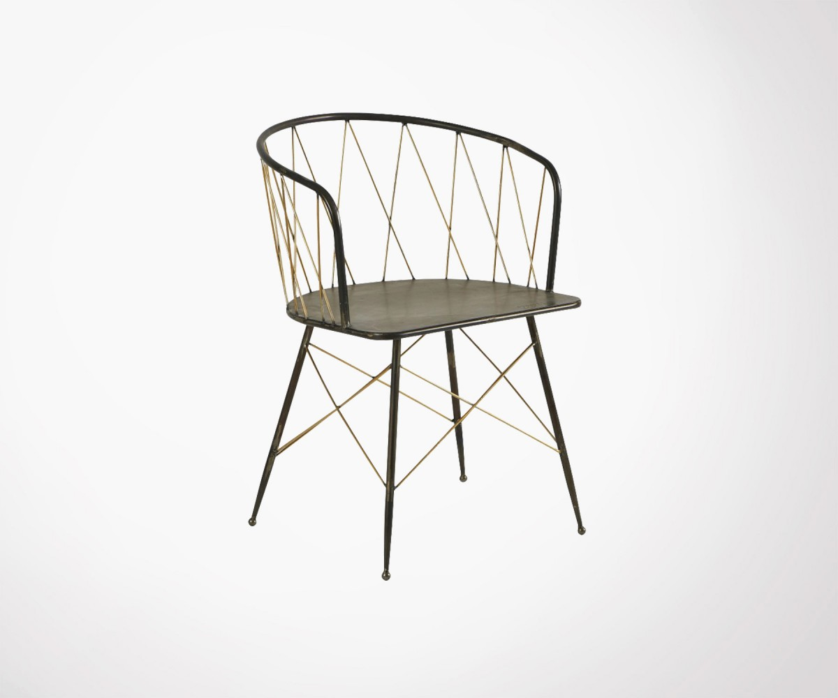 Fauteuils Metalliques Art Deco Style Metal Dining Chair By Athezza Hanjel Brass And Black