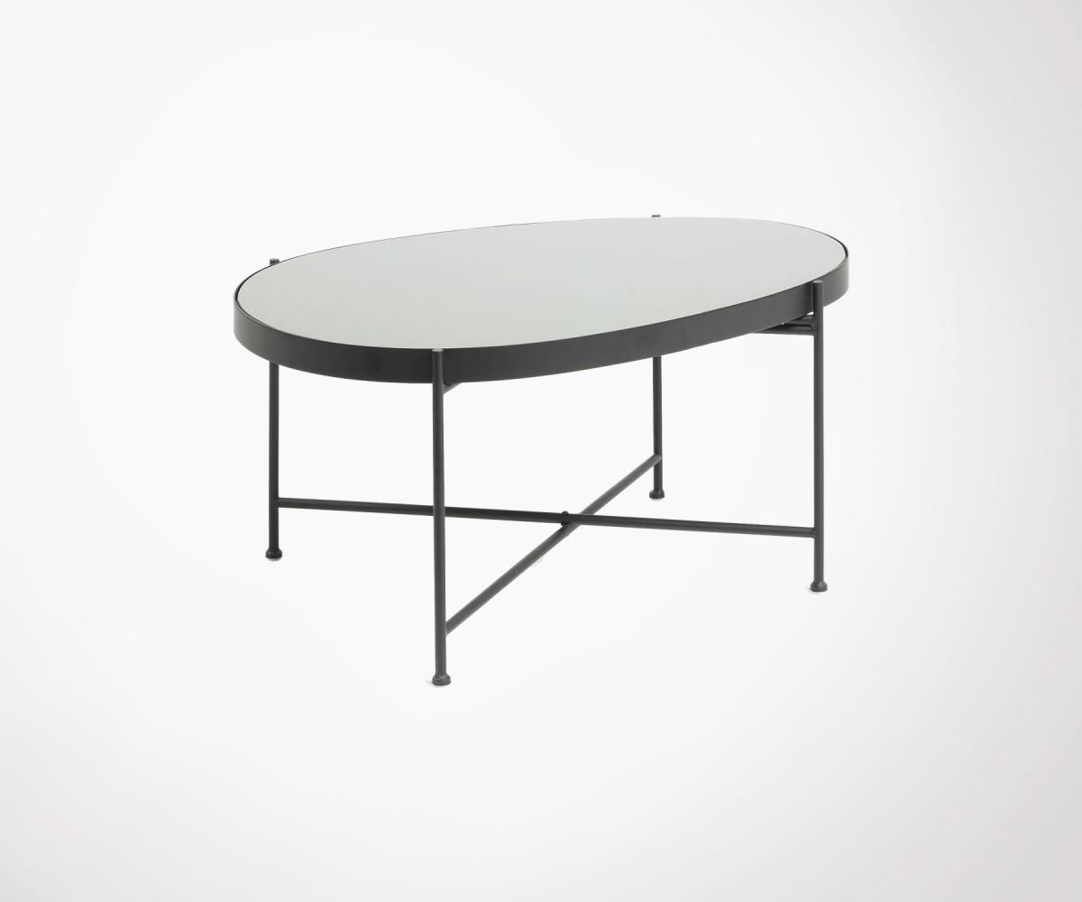 Table De Salon Verre Et Métal Large Coffee Table Oval Black Metal And Glass Gineo