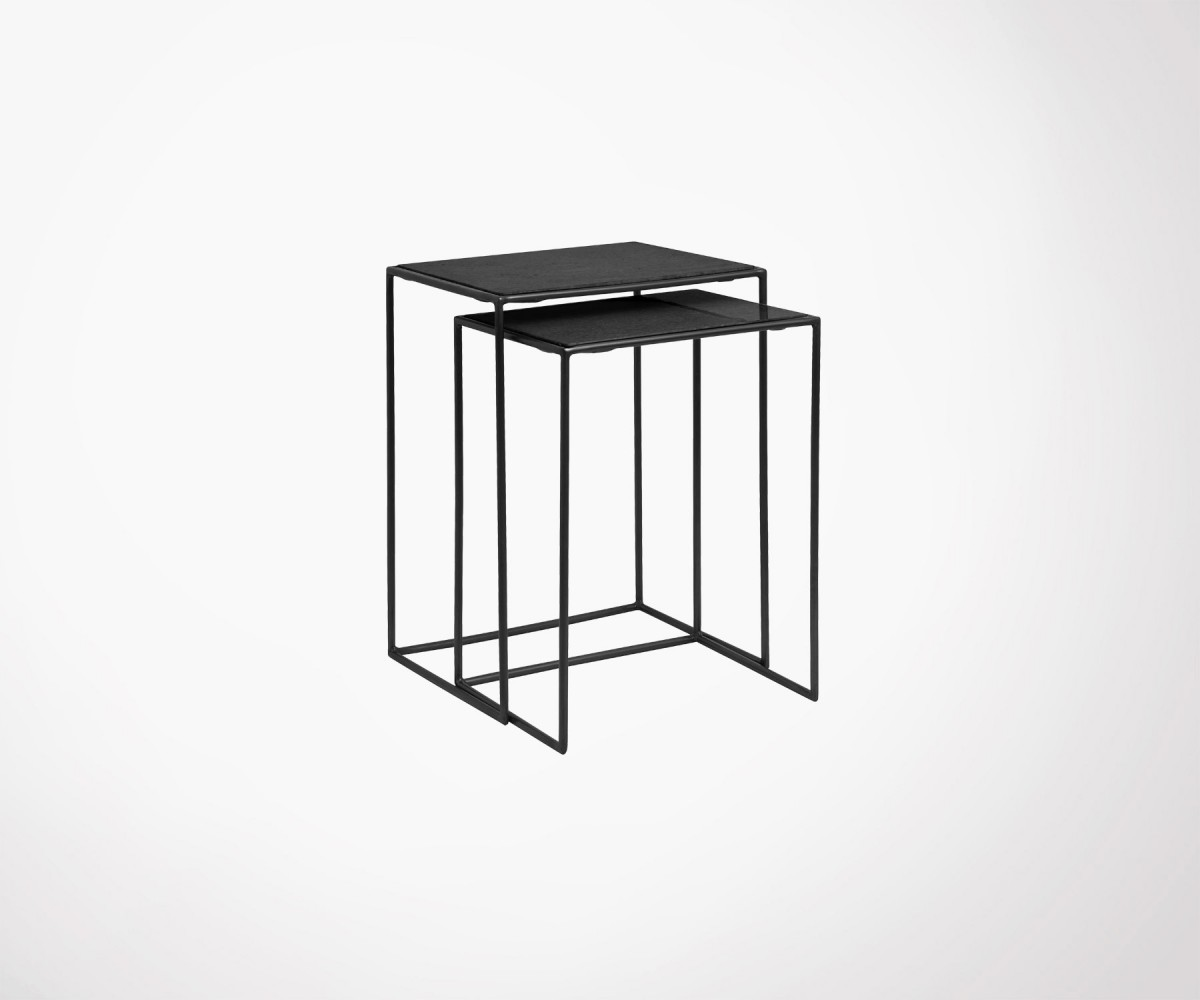 Black Metal Nesting Tables Black Metal And Marble Design Nesting Tables By Nordal