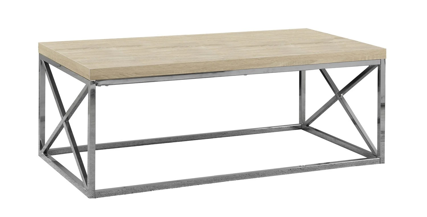 Table De Salon Bois Naturel Avec Metal Chrome Meubles Rd
